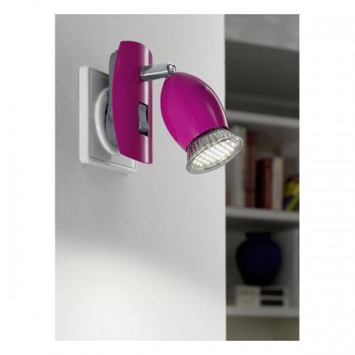 Aplica de priza Eglo Brivi 1 92922, 1x2,5W LED, Roz