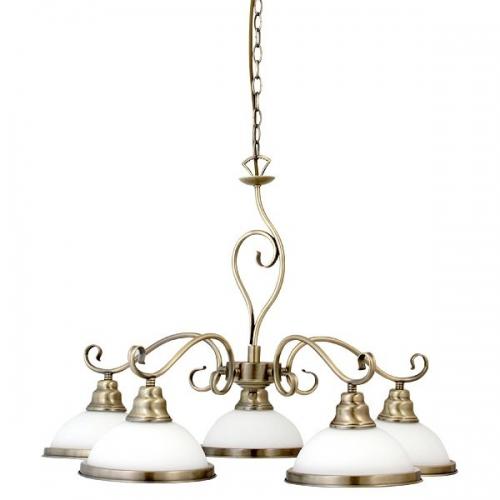 Lustra living si sufragerie clasica Elisett 2755, 5xE27, bronz-alb