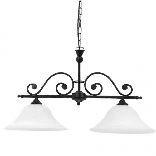 Lustra clasica Rabalux Dorothea 7777, 2x60W, negru, L:72cm