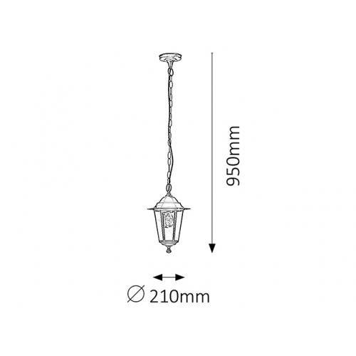 Pendul exterior Rabalux Velence 8208, negru, E27-60W