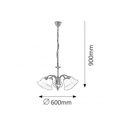 Lustra clasica sufragerie Rabalux Francesca 7375, Bronz, 5xE14