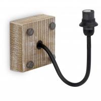 Suport din lemn natur pentru aplica Vintage 49326 cu fir negru