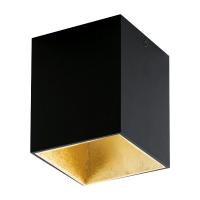 POLASSO 94497 Eglo, spot patrat aparent LED 100X100 negru/auriu