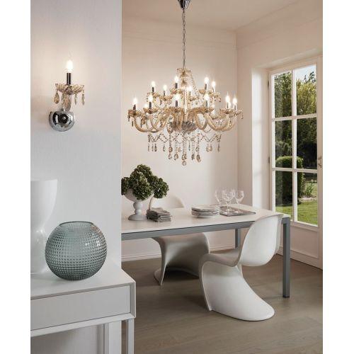 Basilano 39095 Eglo, candelabru cristal, 18xE14, cognac