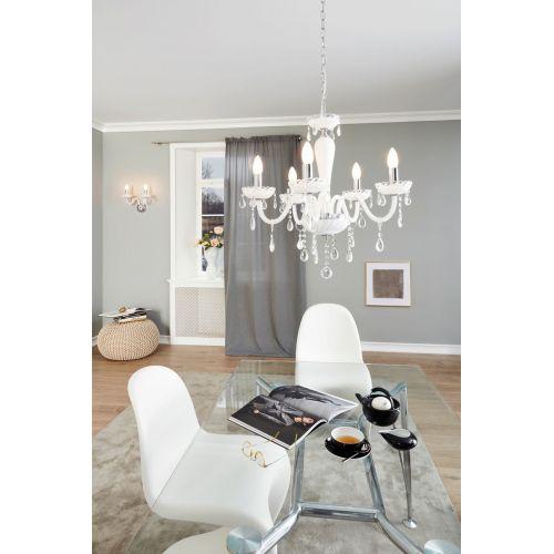 Lustra cristal living, 6xE14, alb, Carpento 39113 Eglo