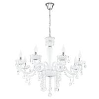 Carpento 39114 Eglo, candelabru cristal, 8xE14, alb