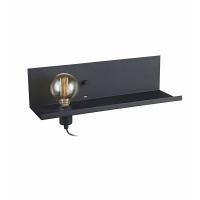 MULTI 106482, lampa citit E27 + dimmer si priza USB, neagra, 50cm