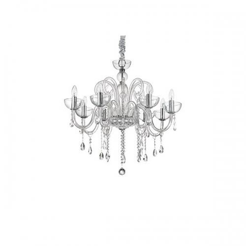 Lustra cristal living CANALETTO SP8 TRASPARENTE 027630, H 84-170cm