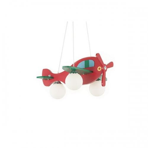 Lustra copii AVION-2 SP3 rosu/verde 136318, H40-112cm