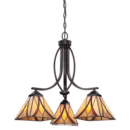 Candelabru Tiffany Asheville cu 3 becuri si inaltime reglabila intre 67-214 cm