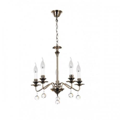 Lustra cristal clasica living Beatrice cu 5 becuri, bronz/cristale