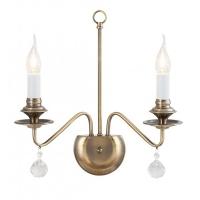 Aplica clasica Beatrice in forma de sfesnic, 2 becuri, bronz/cristale