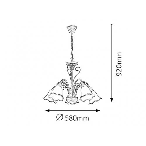 Lustra rustica Eloise, alb/auriu, H=60-92cm, 5 becuri