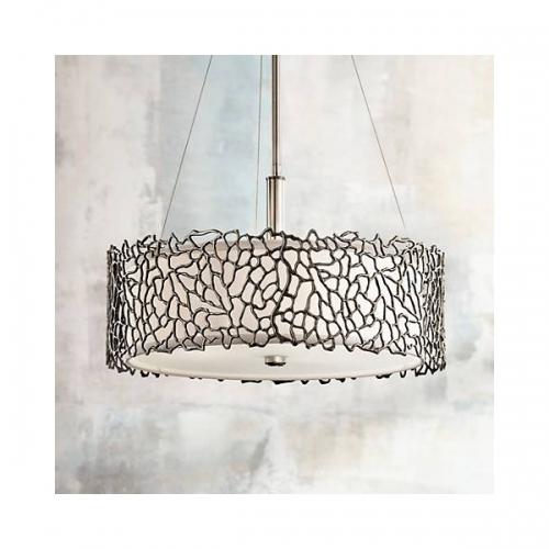 Lustra-Semiplafoniera Silver Coral, D-46cm, 3x100W-E27
