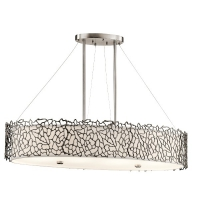 Suspensie dining Silver Coral, L-86cm, 4x100W-E27, ovala, Pewter