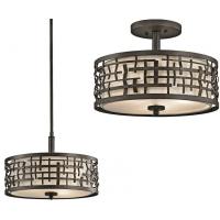 Semi-plafoniera Art Deco Loom, bronz, D-38cm, H-29cm, H=37-127cm, 3x100W