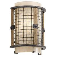 Aplica rustica Ahrendale, fier/lemn/sticla, H-25cm, 1x60W