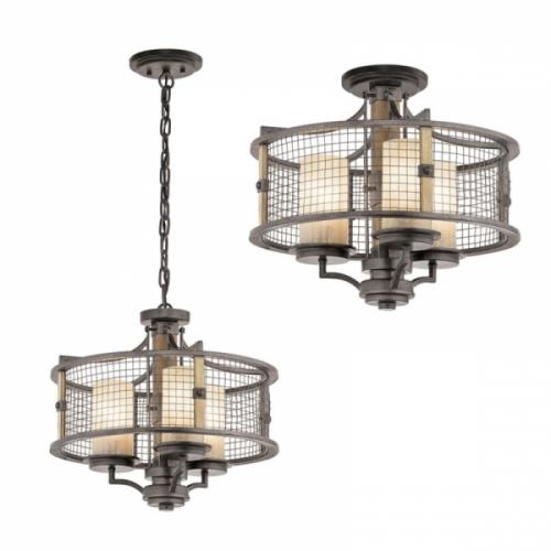 Candelabru Duo rustic Ahrendale, fier/lemn/sticla, D-45cm, H=42-231cm