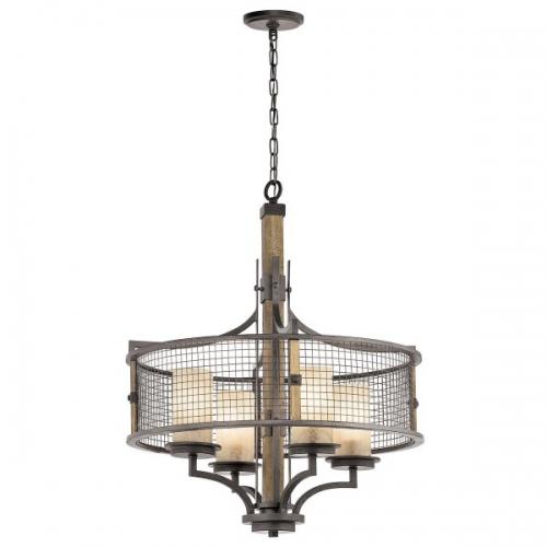 Candelabru rustic Ahrendale, fier/lemn/sticla, D-61cm, H=76-264cm