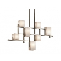 Suspensie dining City Lights, nichel/alb, L-88cm, H-47, H=64-142cm, 7x40W