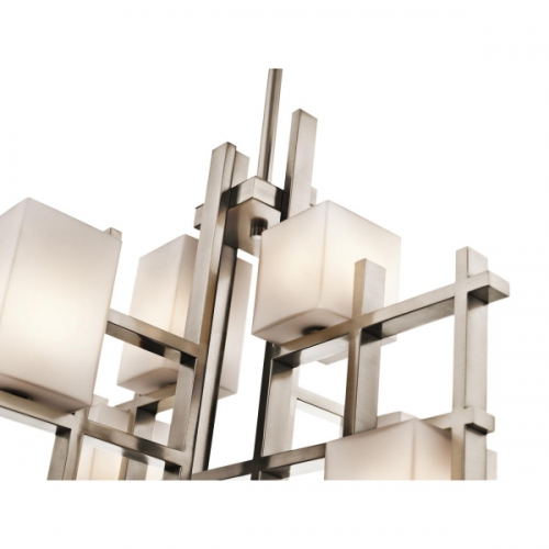 Candelabru living City Lights, nichel/alb, L-65cm, H-60, H=78-150cm, 280W