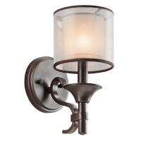 Aplica trendy Lacey, bronz/mesh/sticla alba, H-27cm, 60W