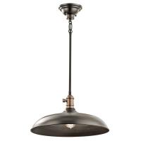 Pendul convertibil in plafoniera Kichler Cobson, bronz, D:41cm, H:22-123cm, 1x60W-E27