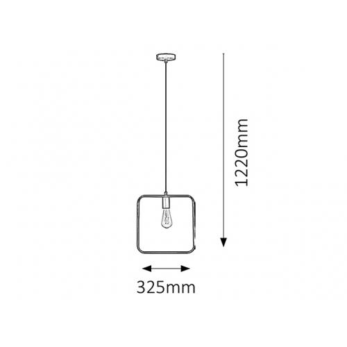 Pendul Levi patrat, 1 bec, stil industrial, H:35-122cm