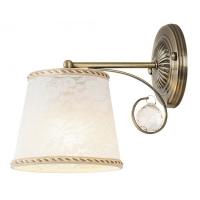 Aplica clasica Valerie cu 1 bec E14, bronz/cristal/alb, H:23cm