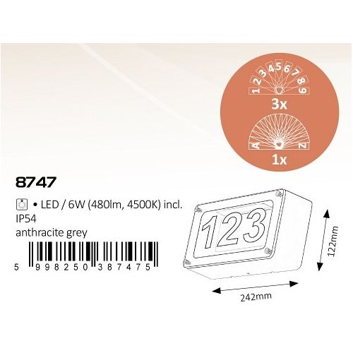 Aplica numar casa LED Hannover, L:24cm, IP54, antracit