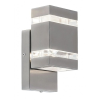 Aplica dreptunghiulara LED Cambridge, H:21cm, IP44, inox