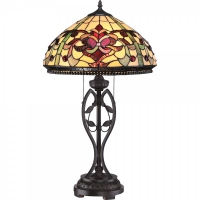 Veioza Tiffany Quoizel Kings Pointe, bronz, H:68cm, D:41cm, 2x75W-E27
