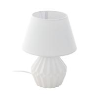 Veioza Altas, ceramica/textil, alba, H:28cm, 1xE14, cu intrerupator pe cablu