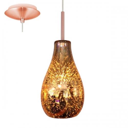 Pendul Alvaredo, cupru, sticla colorata cu efect 3D, 1xE14, cu inaltime reglabila