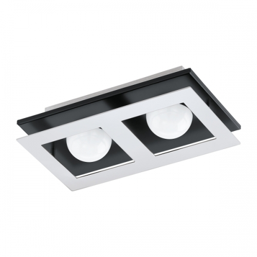 Aplica Bellamonte 1, crom/negru/alb, L:25.5cm, 2x3.3W-LED, 680 lumeni, alb cald