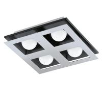 Plafoniera Bellamonte 1, crom/negru/alb, L:27cm, 4x3.3W-LED, 1360 lumeni, alb cald