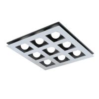 Plafoniera Bellamonte 1, crom/negru/alb, L:47cm, 9x3.3W-LED, 3060 lumeni, alb cald
