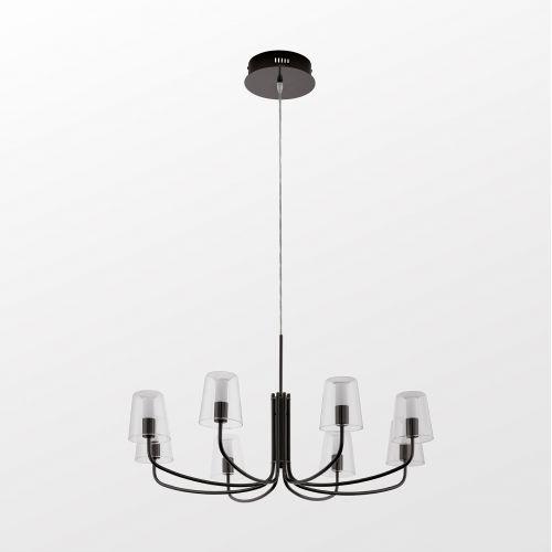 Lustra Noventa 1 96514, neagra, D:82,5cm, 8x3,3W-LED, 2720lm, H:110cm