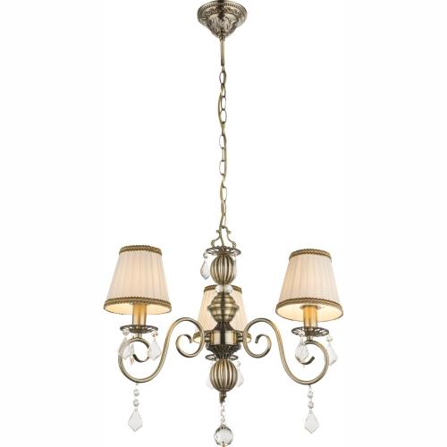 Lustra clasica finisata bronz cu textil alb si cristale, Genoveva I 69010-3H Globo