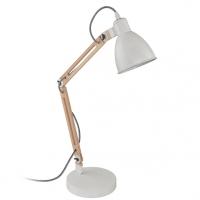 Lampa de birou cu intrerupator pe fir din lemn si metal alb, Torona 1 96957 Eglo