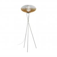 Lampadar cu lamele lemn natur/alb si intrerupator la picior, Sotos 96966 Eglo