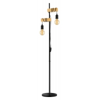 Lampadar lemn retro 2xE27 cu 2 intrerupatoare pe cablu, Townshend 32919 Eglo