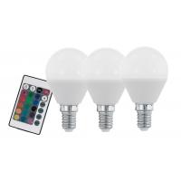 Set 3 becuri smart LED E14-P45 RGBW 4W inclusiv telecomanda