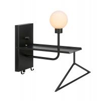 CARSON lampa multifunctionala pentru hol cu priza USB, neagra