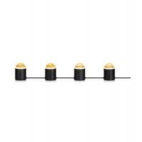 JINX lampa decorativa cu 4 becuri din metal negru si cristal transparent