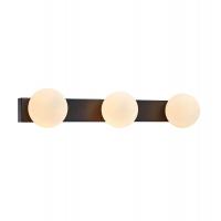MINI aplica de baie cu 3 becuri din metal negru cu globuri de sticla alba, IP44