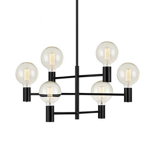 CAPITAL Pendant 6L Black, candelabru scandinav cu 6 brate, negru