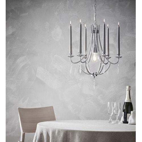 Candelabru glamour TAMARA pentru 1 bec si 6 lumanari, crom si cristal