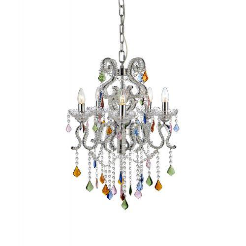 Candelabru modern glamour CARAMEL cu 5 becuri si cristal multicolor