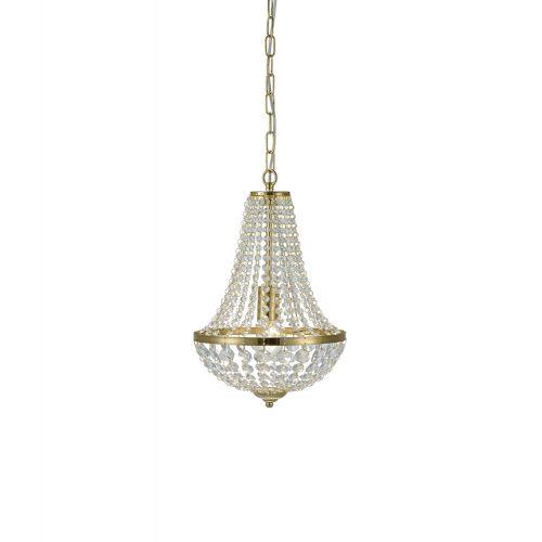 Candelabru glamour GRÄNSÖ 1 bec, auriu cu cristale transparente